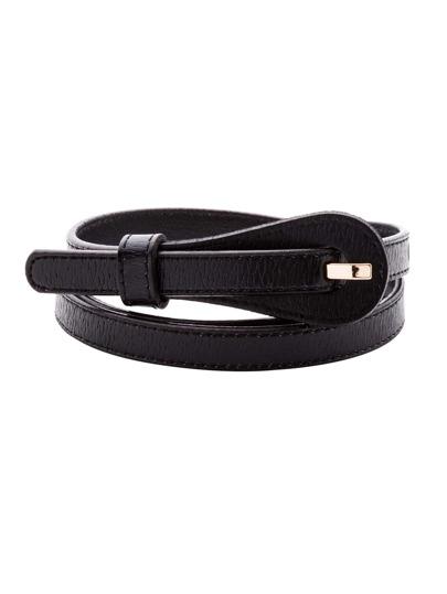 Black Buckled Stylish Skinny Belt