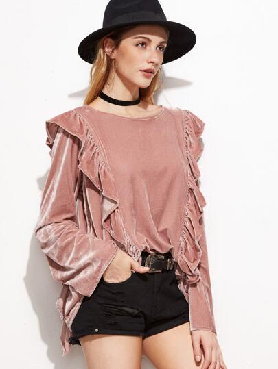 Pink Bell Sleeve Ruffle Trim Velvet Top
