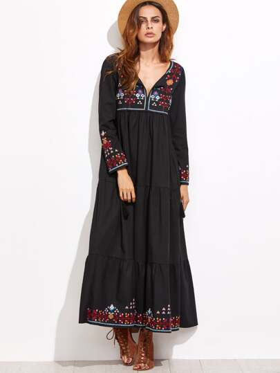 Embroidered Tassel Detail Tiered Seam Dress
