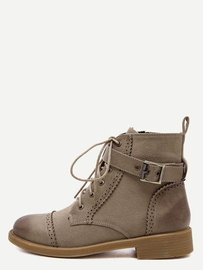 Bottines bout cape avec lacet - abricot