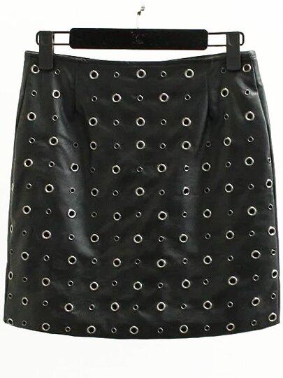 Black Eyelet Detail Zipper Back PU Skirt