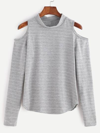 Grey Striped Open Shoulder T-shirt