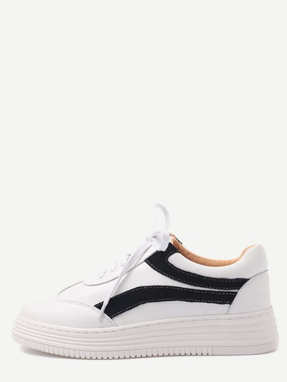 White and Black Faux Leather Lace Up Low Top Sneakers