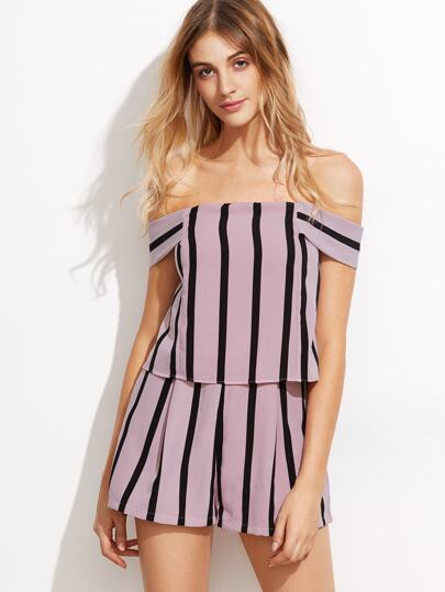 Vertical Striped Off The Shoulder Zip Back Romper