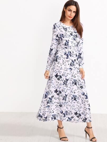 White Blossom Print Buttoned Front Dress