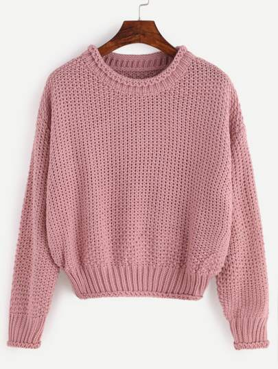 Pink Chunky Knit Crop Sweater