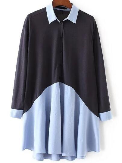 Color Block Button Dip Hem Shirt Dress