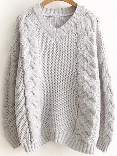 Grey Cable Knit V Neck Sweater