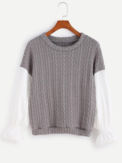 Grey Contrast Sleeve Cable Pattern Sweater