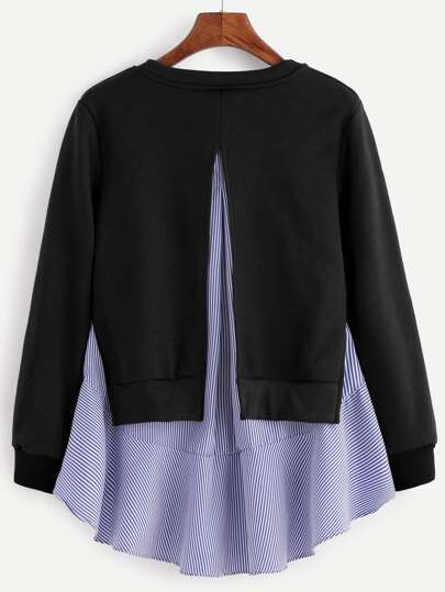 Black Striped Ruffle Detail 2 In 1 Sweatshirt