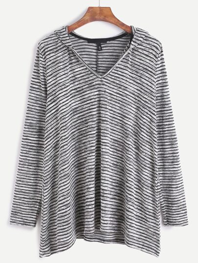 Contrast Striped Hooded T-shirt