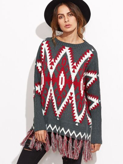 Grey Tribal Patter Tassel Trim Sweater