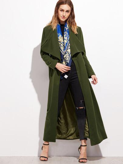 Olive Green Oversized Collar Long Coat
