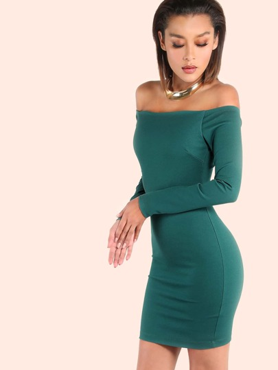 Off the Shoulder Sleeved Bardot Bodycon Dress GREEN