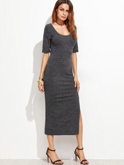 Grey Scoop Neck Side Slit Ribbed Dress