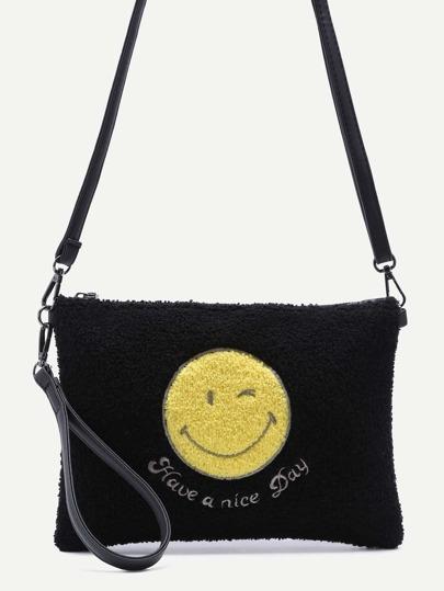 Smiling Face Black Zip Closure Crossbody Bag