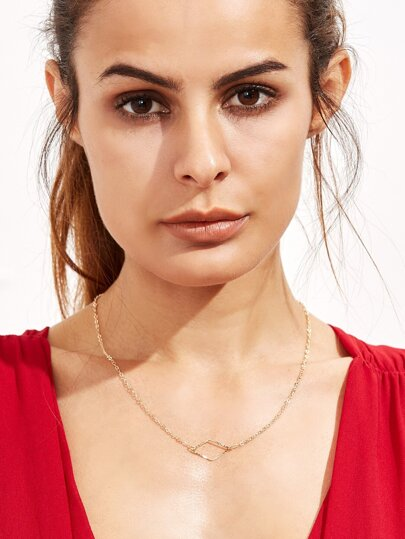 Gold Plated Hollow Geometric Pendant Necklace
