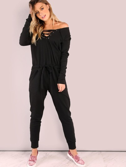 Lazy Lace Up Cotton Jumpsuit BLACK
