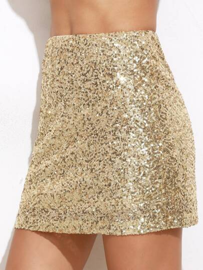 Mini Gonna Con Paillettes Ricamata - Oro