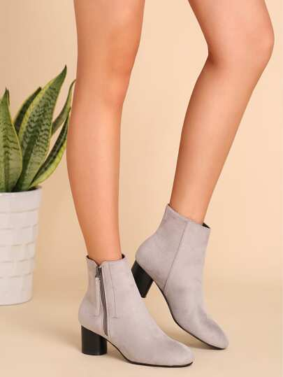 Light Grey Faux Suede Almond Toe Side Zipper Short Boots