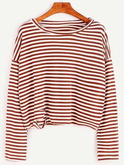 Camiseta de rayas con hombros caídos