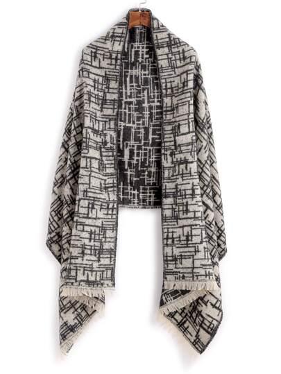 Чёрно-белый модный шарф-накидка с принтом