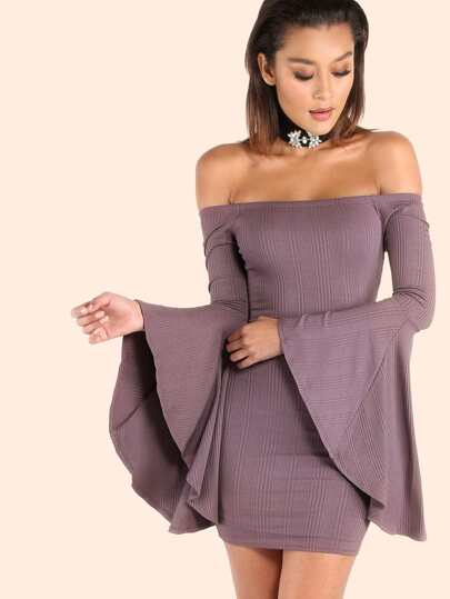 Open Shoulder Ribbed Bell Sleeve Mini Dress PLUM