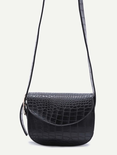 Black Croc Embossed Leather Saddle Bag