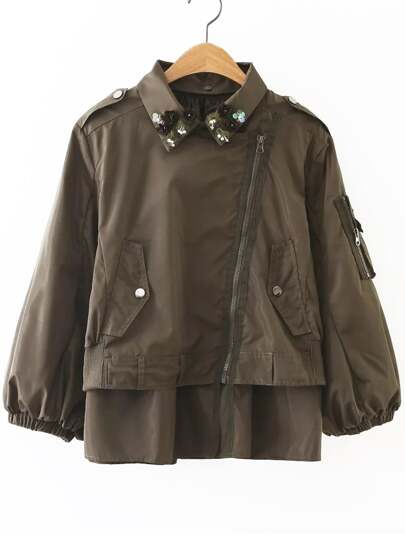 Army Green Flower Detail Oblique Zipper Coat