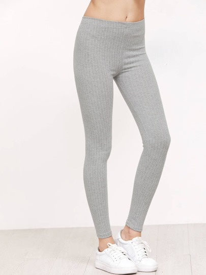 Grey Vertical Striped Leggings