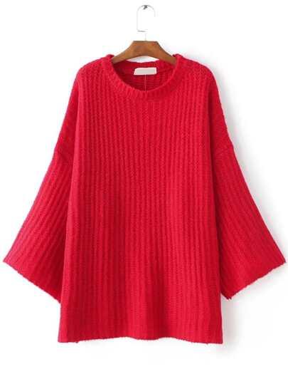 Red Drop Shoulder Loose Sweater