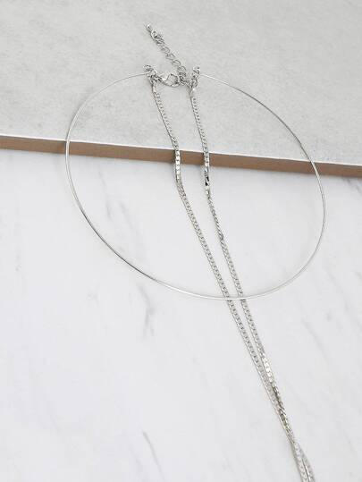 Metallic Hoop Layered Necklace SILVER