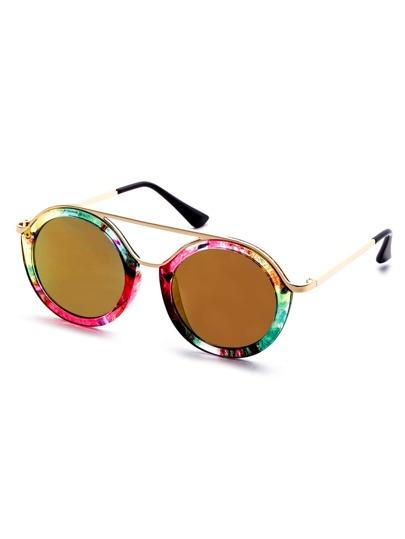 Multicolor Frame Metal Trim Double Bridge Sunglasses