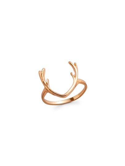 Gold Plated Antler Design Ring