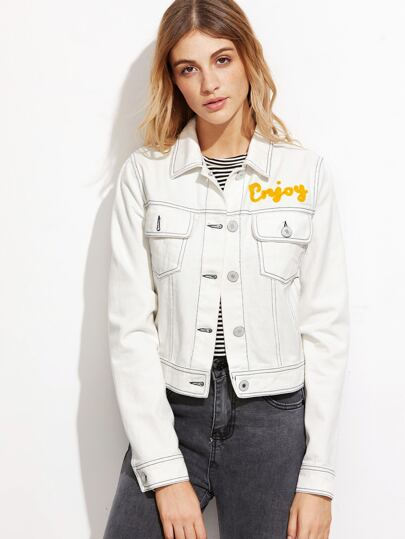 White Contrast Stitch Jacket With Embroidered Detail