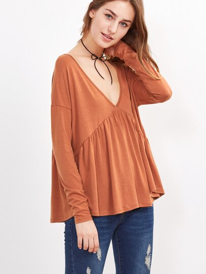 V Neck Cut Out Back T-shirt