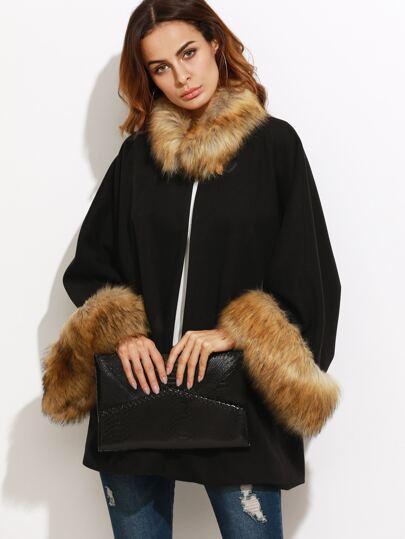 Black Faux Fur Trim Oversized Collarless Coat