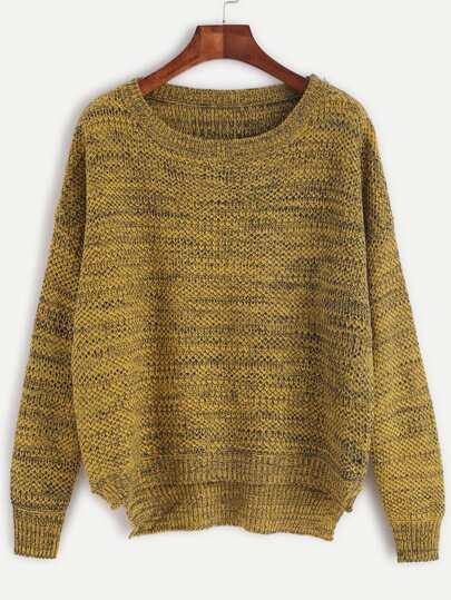 Pull tricoté plain col rond - jaune