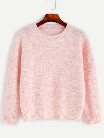 Pink Drop Shoulder Jersey Sweater
