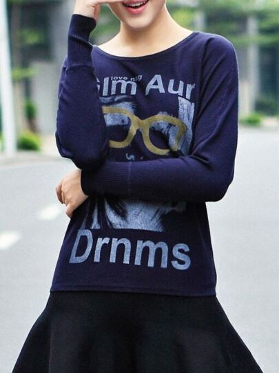 Navy Character Letters Print Sweaters