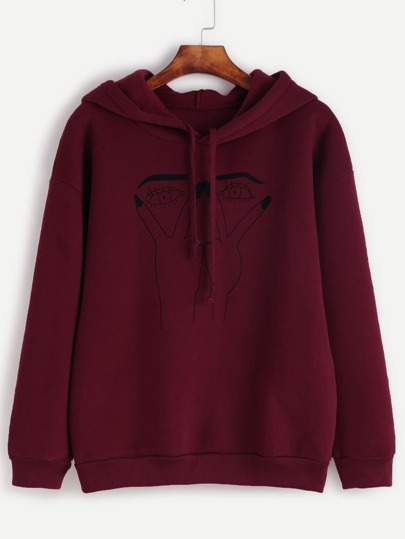 Burgundy Eye Print Drawstring Hooded Sweatshirt