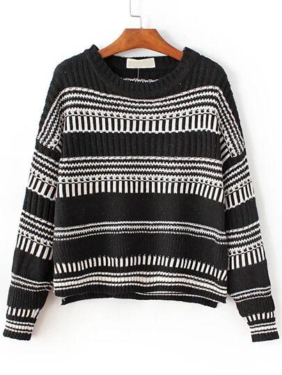 Black Striped Drop Shoulder Dip Hem Sweater
