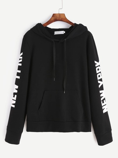 Black Letter Print Drawstring Hooded Sweatshirt
