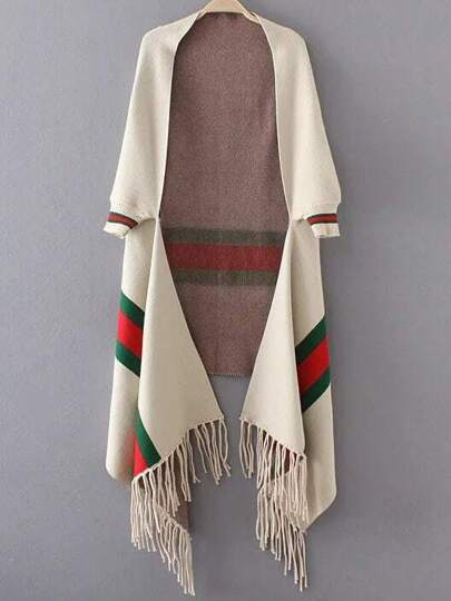 White Stripped Open Front Fringe Poncho Sweater