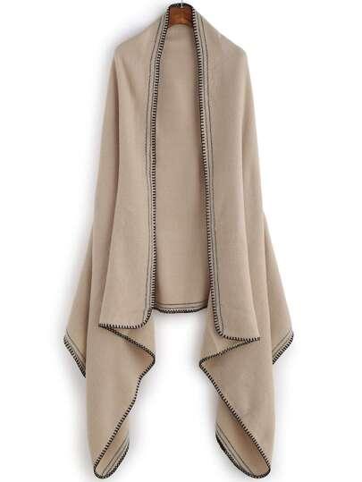 Бежево-контрастный тёплый шарф шалью