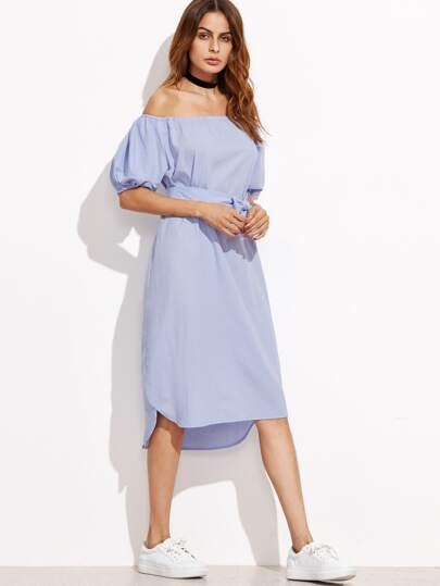 Blue Off The Shoulder Self Tie Dress