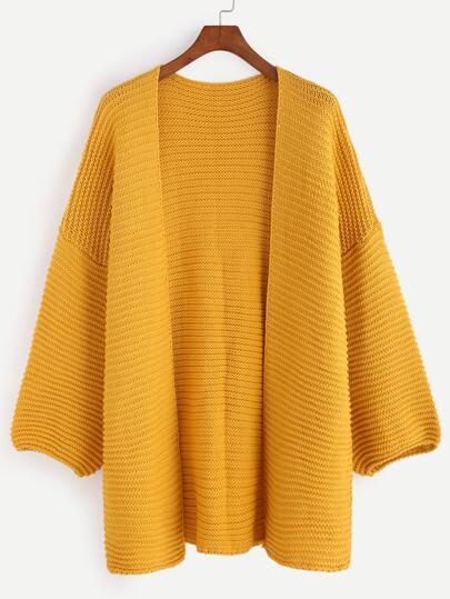 Yellow Drop Shoulder Lantern Sleeve Slit Sweater Coat