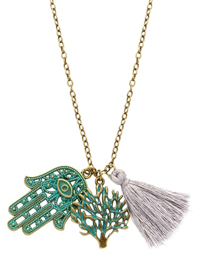 Vintage Green Hamsa Hand Tree Tassel Pendant Necklace