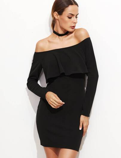 Black Off The Shoulder Ruffle Bodycon Dress