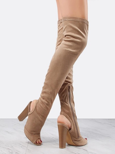 Suede Stacked Heel Tall Boots TAUPE